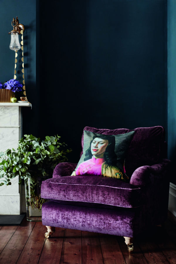 Purple velvet armchair from DFS