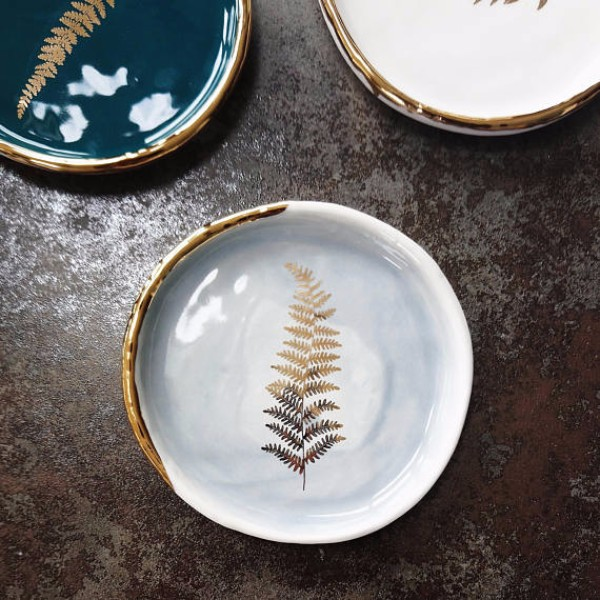 gold ceramic plate by danu