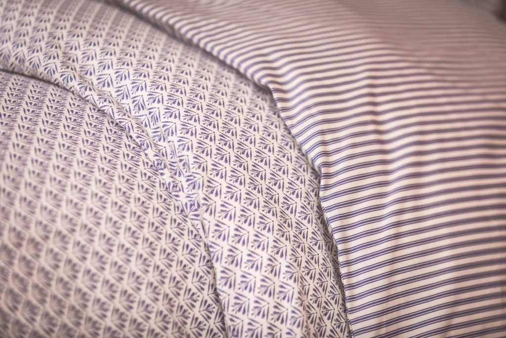vintage woodblock and indigo bed linen