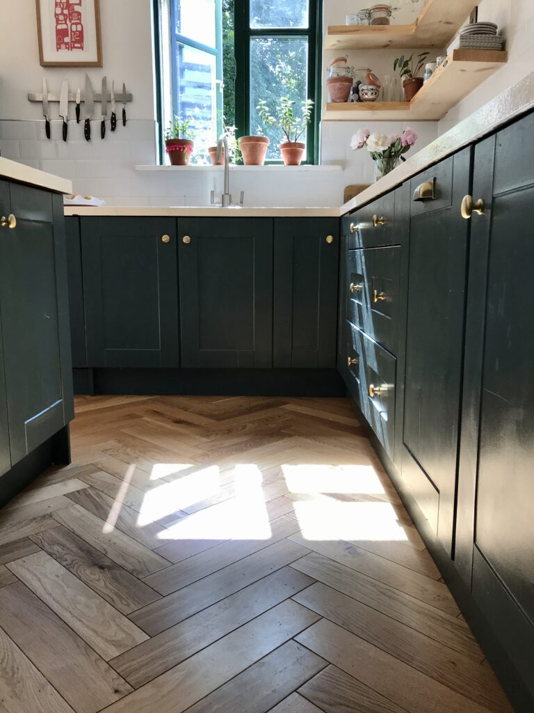 Navy kitchen cabinets and wooden floor