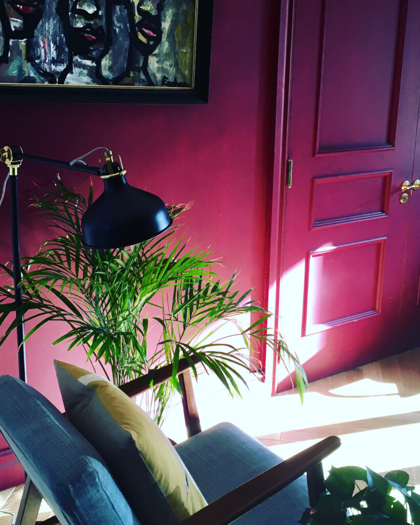 Shaft of light filling living room with chair and house plant