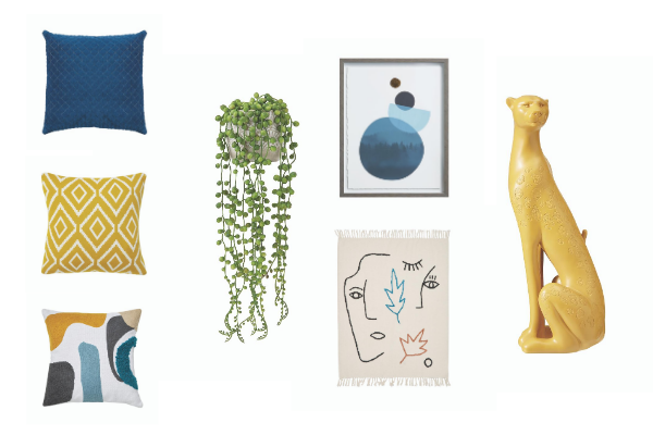 A range of blue and mustard home accessories