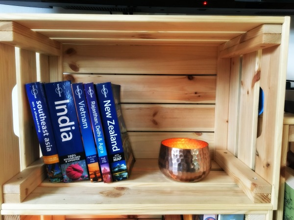 crate shelf with candle