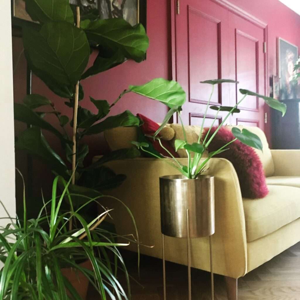 Gold planter next to mustard sofa