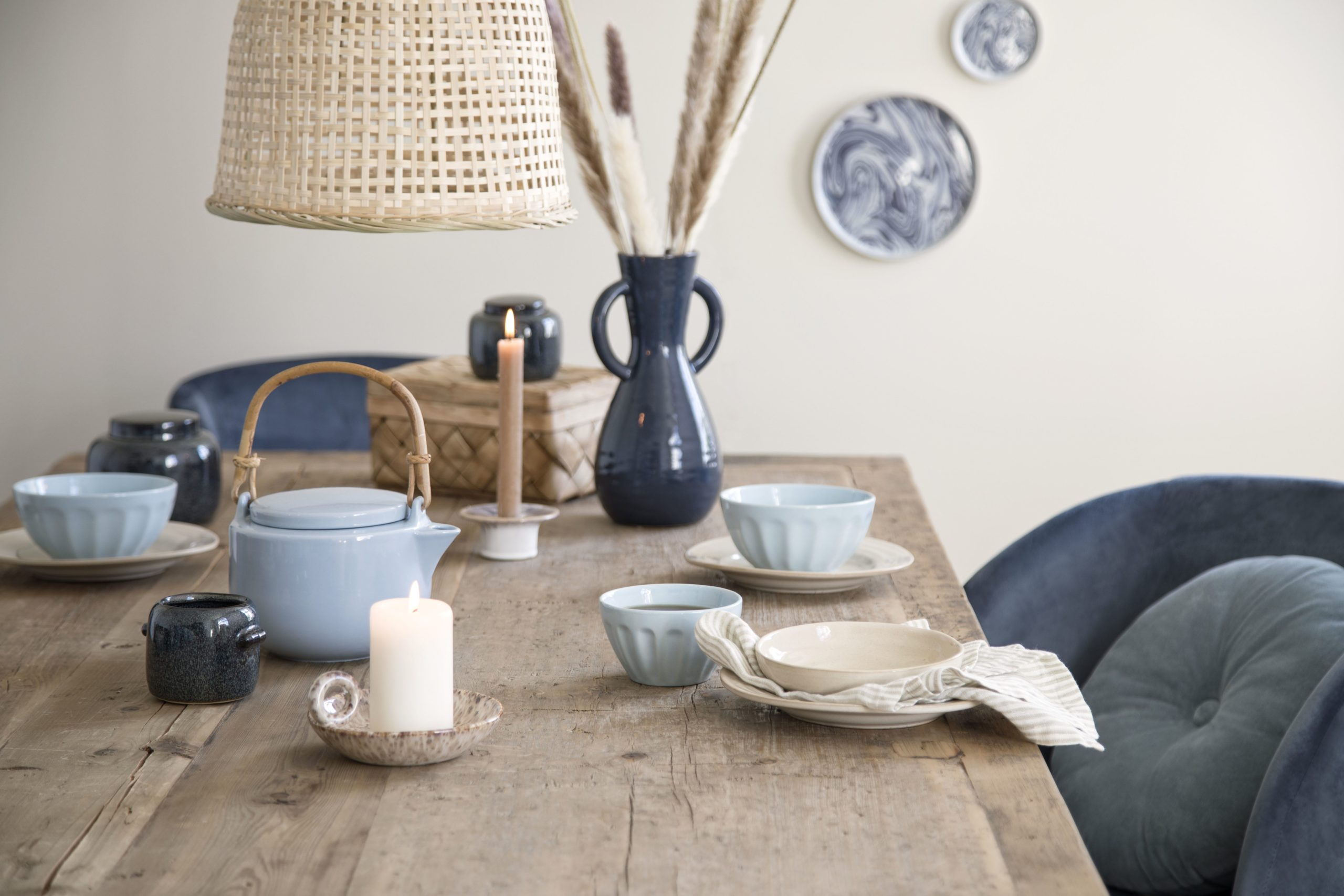 a mix of blue tableware